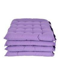 100% Cotton Plain Purple Seat Pads with Button Straps