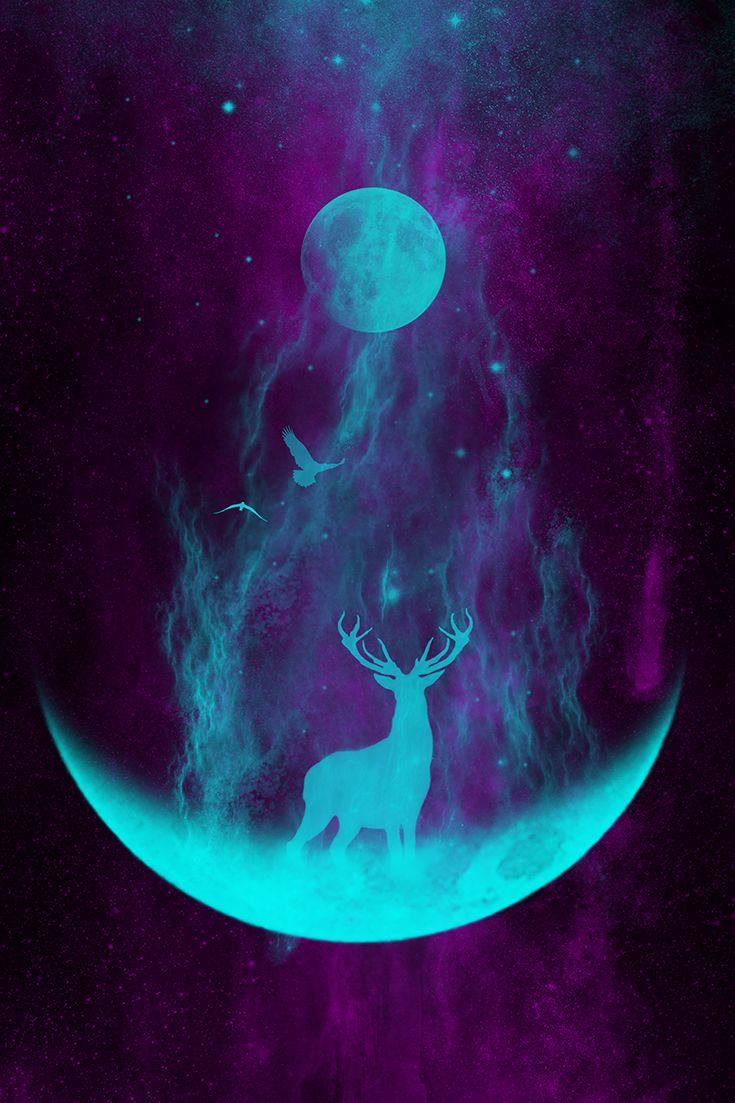 Check out my beautiful, new art on Society6!   deer, stag, moon art, lunar, birds, bird art, forest, adventure, explore, mystic, native american, spirits, spiritual art, abstract art, space art, stars, universe, galaxy