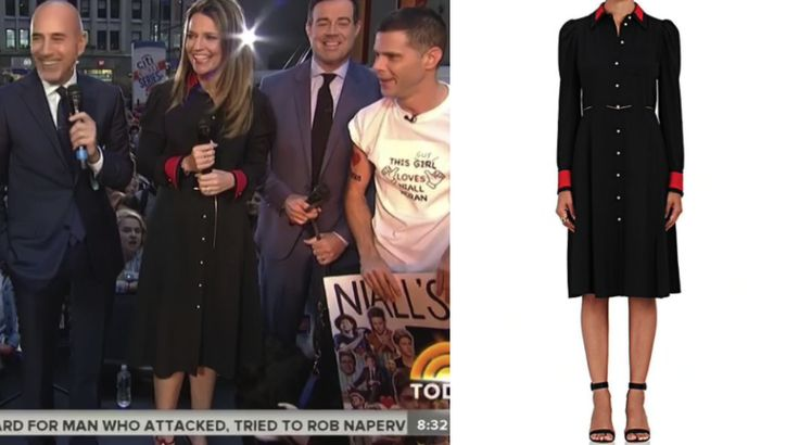 Off the Chain! Get the scoop on Savannah Guthrie's Navy Blue Chain Detail Dress here: https://www.bigblondehair.com/savannah-guthries-black-red-button-chain-detail-dress/ #Today #todayshow Today Show