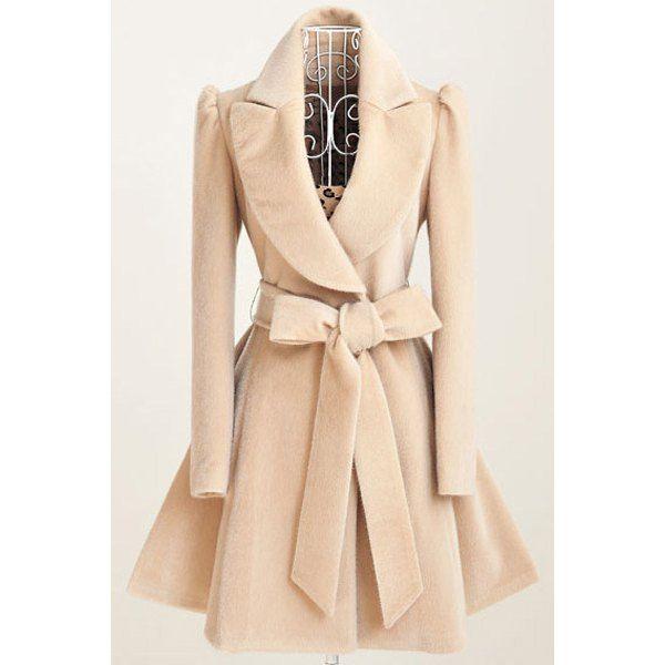 Dress Coat Turn-Giù Noble collare manica lunga colore puro annodare delle donne della cinghia