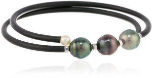 "Baggins Tahitian Pearl Memory Wire PVC Tubing Double Wrapped Bangle Bracelet, 13"""