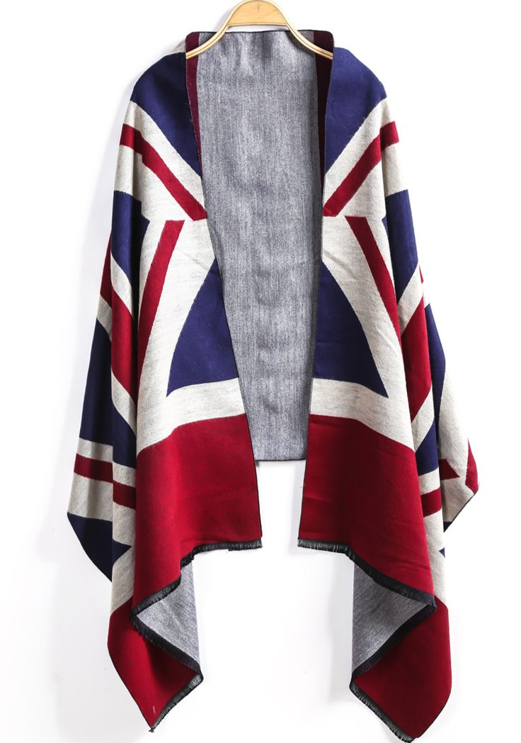 Shop Blue Red Union Jack Print Scarve online. Sheinside offers Blue Red Union…