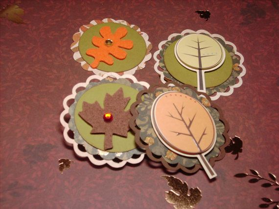 4 FALL Tree Thanksgiving leaf card toppers scrapbook embellishment cupcake set 29.  Great for scrapbook page
