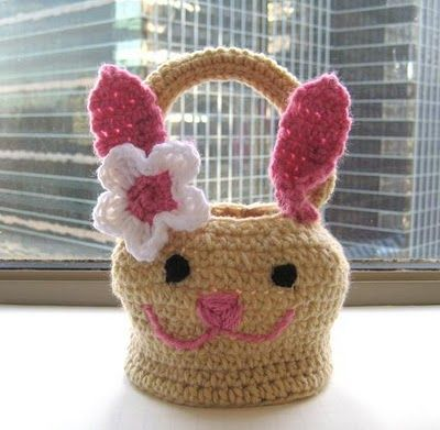"Bunny Basket Crochet Pattern ( Free Pattern). Click on hyperlink at end of text at blog ""Click here!"" and takes you to PDF free pattern."