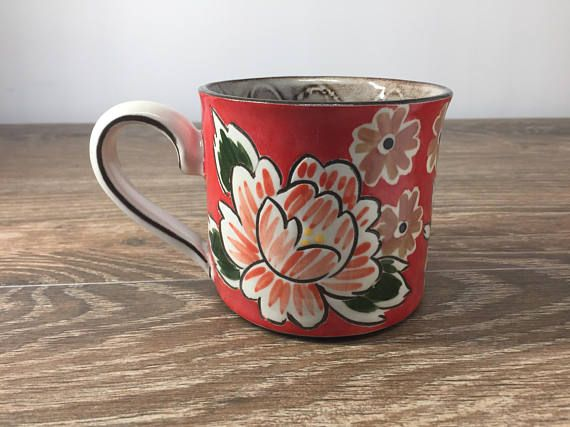 Handmade Red Mug with Big Mums in Red. Slab Built Pottery Mug by Colleen McCall Ceramics. Functional Pottery.
