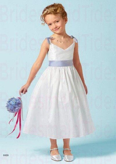 V-neck Taffeta Tea-length A-line Ivory Flower Girl Dress(BTFG203)
