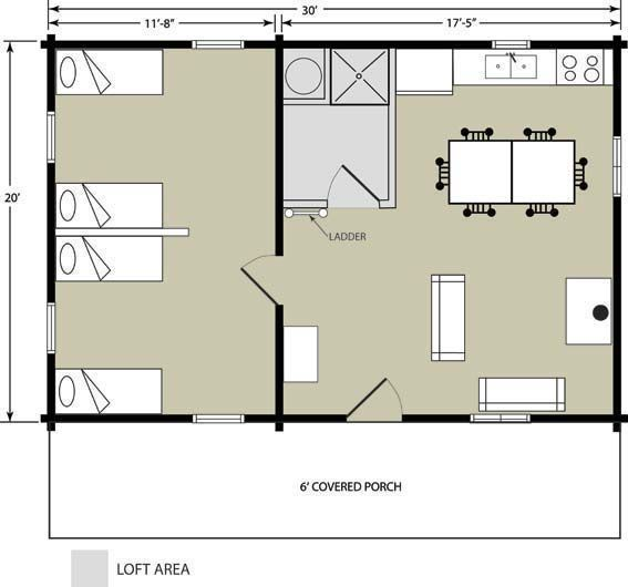 Log cabin package 20 39 x 30 39 trout run cabin package for 20x30 cabin blueprints