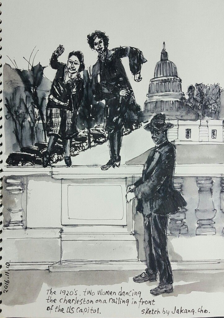 The 1920's, two women dancing the Charleston on a railing in front of the US Capitol #pendrawings #storytelling #DailyDrawing  #urbansketch #streetart #cityalley #dancing #charleston