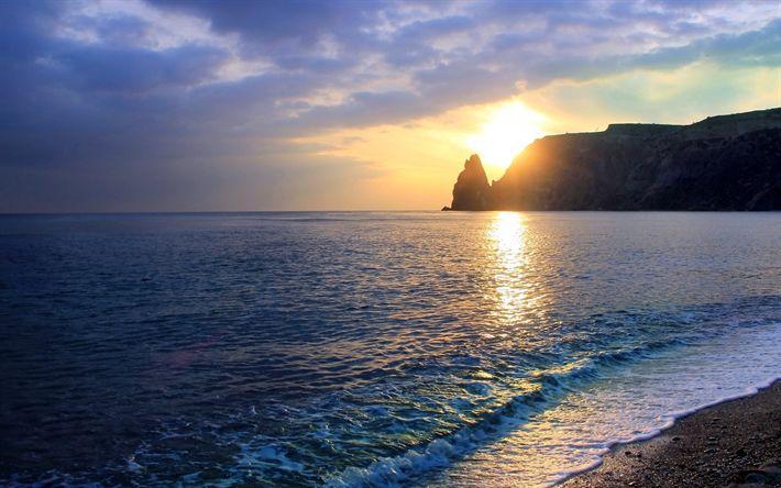 Lataa kuva Sunset, Musta Meri, Cape Fiolent, Krimin, meri, aallot, Sevastopol