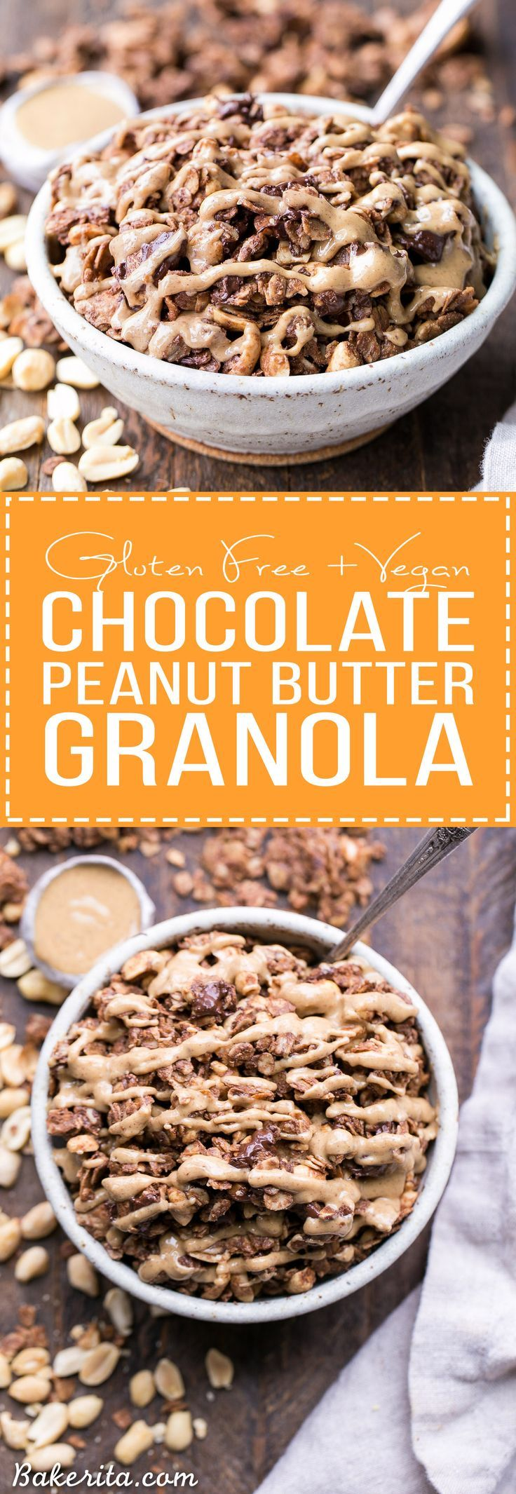 This Chocolate Peanut Butter Granola is the perfect indulgent breakfast or snack. It's gluten-free, dairy-free, vegan and refined sugar-free, and it tastes like dessert that you can have for breakfast!