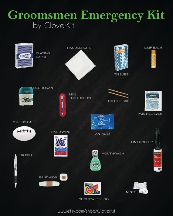 Groomsmen Survival Kit includes 18 unique items to make sure the men in your bridal party are ready for your big day. Makes a great gift. $44. By CloverKit.