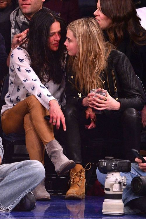Cara Delevingne and Michelle Rodriguez kiss at basketball match: The Fast and Furious star and model looked bored as they watch the New York Knicks - 3am & Mirror Online ✿