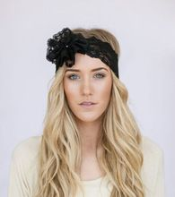 Godbead Mrs. I Do Wedding Lace Headband Floral Head Piece BLACK Wide Stretchy Hair Bands with Lace Flower and Pearl Button Stret