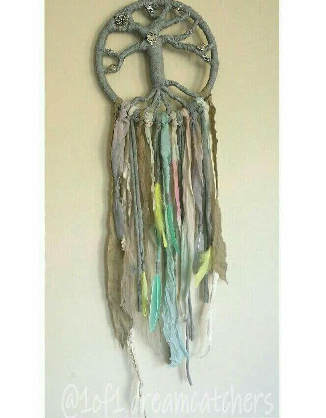 Grey and pastel dreamcatcher  www.facebook.com/1of1dreamcatchers  #dreamcatcher #feathers #treeoflife #boho #vintage #shabbychic #homedecor #craft #pastel #sorbet #grey