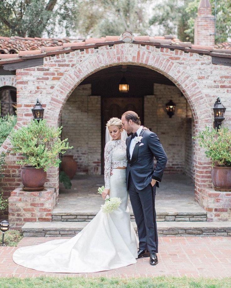 We can't stop obsessing over #RichKids Morgan Stewart's crop top @badgleymischka wedding dress!  Get all the details on her weekend wedding to Brendan Fitzpatrick at the link in our bio  #theknot : @lucasrossiphoto I @boobsandloubs @brendanfitzp via @angela4design