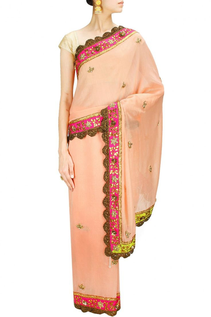 Peach zardozi motifs sari with deep pink printed blouse piece. By Anupamaa Dayal. Shop designer now at www.perniaspopupshop.cpm #designer #indian #stylish #shopnow #perniaspopupshop #happyshopping