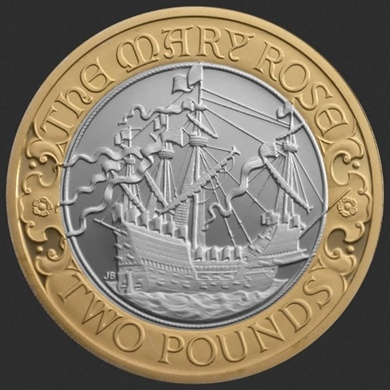 The 2011 UK Mary Rose £2 Silver Coin - As symbols of influence, of military might and political power, British ships have graced Britain's coins for centuries: the Mary Rose is the latest in that long line, proudly portraying the heavyweight flagship of Henry VIII in celebration of the 500th anniversary of the maiden voyage of the impressive, but ultimately ill-fated, Mary Rose.