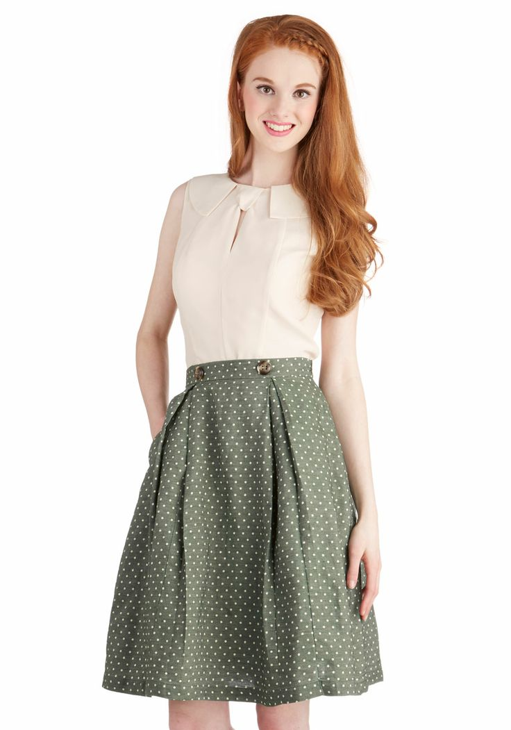 Twirl's Night Out Skirt. Take this pleated, A-line skirt onto the dance floor with your gals tonight! #green #modcloth