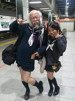 Recently, Japanese sites and Twitter users in Tokyo have spotted an old guy dressed in a sailor style school uniform—a truly unusual sight to behold. People were amused. People were baffled. What the hell was going on?!  Japanese site IT Media met Kobayashi and asked him the question on everyone's mind: Why do you dress like a Japanese schoolgirl?