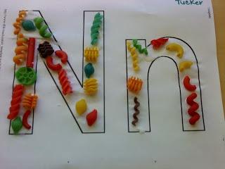 N noodle craft project.  Kindergarten