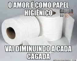Amor é como papel higiênico, vai diminuindo a cada cagada