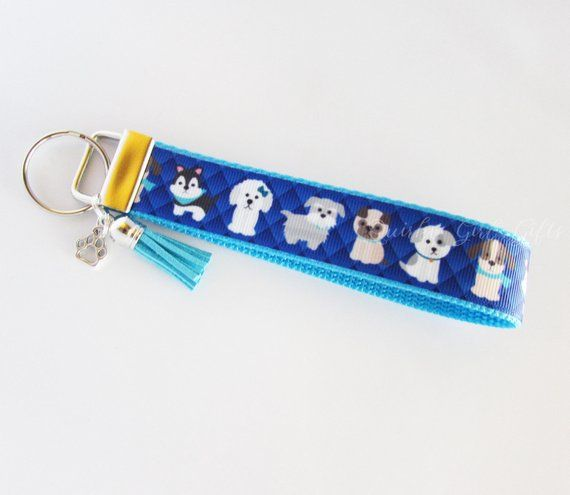 dog lover gift key chain I heart dogs key fob wristlet keychain