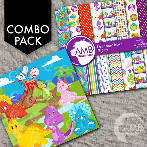 80%OFF COMBO Dinosaur Clipart And Digital Papers, Baby Dinos, Dinosaur Birthday Party, Party invitations, Commercial Use, AMB-1603