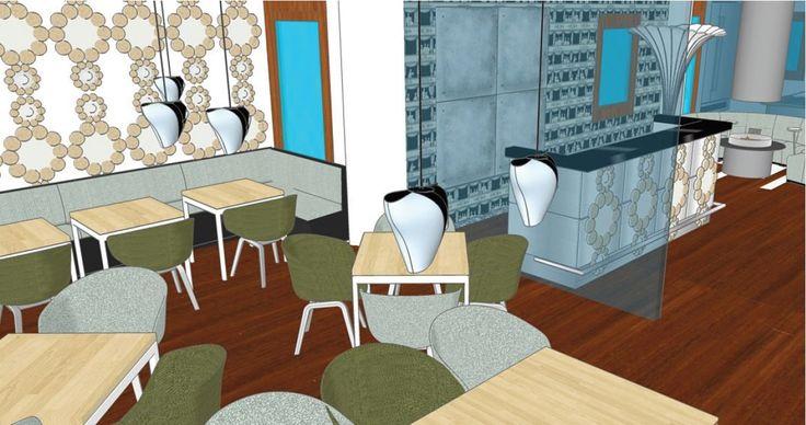 Vista de la zona del bar de un proyecto de un restaurante italiano