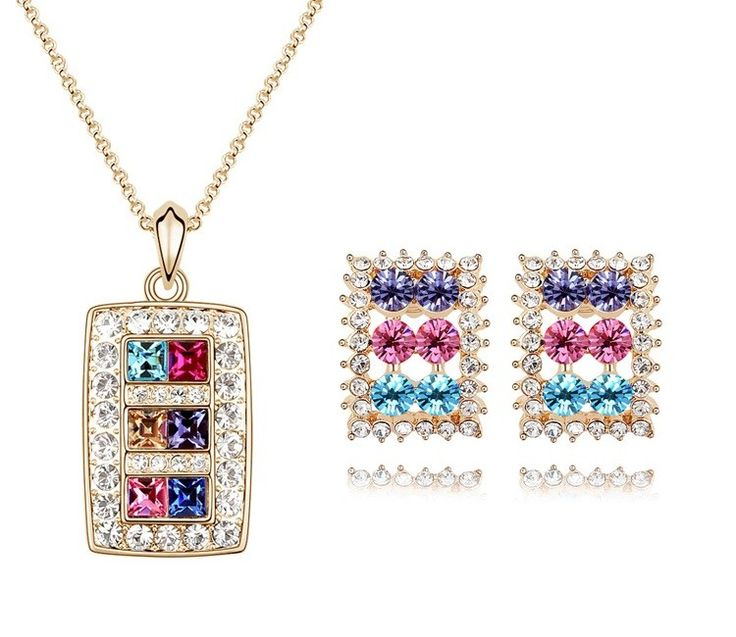 The Shinning Diva Necklace Set Pink ,blue ,