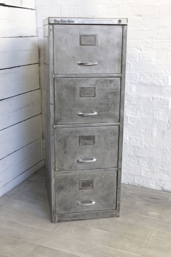 Reclaimed Vintage Urban Industrial Withy Grove Stores 1970's Stripped Steel 4 Drawer Filing Cabinet - Reclaimed Industrial Office Furniture