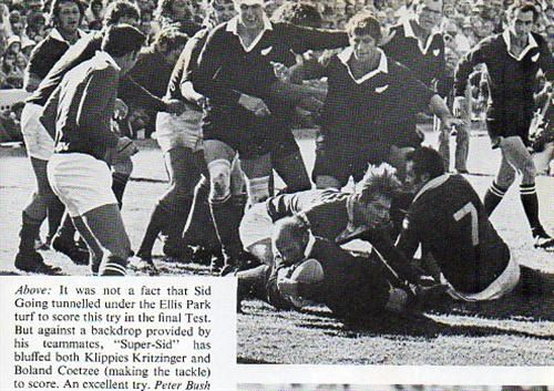 1976 All Black tour – Fourth testThis is what he writes about the fourth test with specific reference to the rugby the All Blacks of '76 played: They died by their own hands, that was the inevitable verdict. True, Bezuidenhout was unconscionably incompetent in at least three incidents which undoubtedly turned the game –and the series- to South Africa.