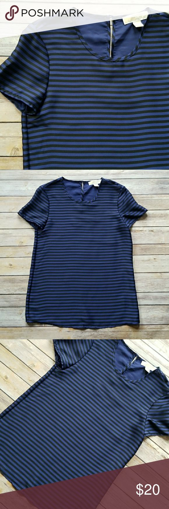 """Michael Kors Striped Short Sleeve Top Michael Kors Striped Short Sleeve Top  *Blue and black horizontal stripe pattern *Satin-like feel *Short sleeves *Loose fitting *Back keyhole cutout detail with button closure *100% Polyester *Excellent pre-owned condition. No rips, holes, stains or pulls *Size X-small  Shoulder to bottom: approx. 24 1/2"""" Underarm to underarm: approx. 17"""" MICHAEL Michael Kors Tops"""