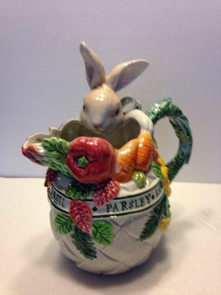 Fitz Floyd Bunny Herb Garden Rabbit 1 5 Qt Pitcher Easter