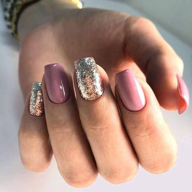 22 Stunning Mauve Color Nails Designs 2018 Mauve Nails Pink Glitter Nails Dusty Pink Nails