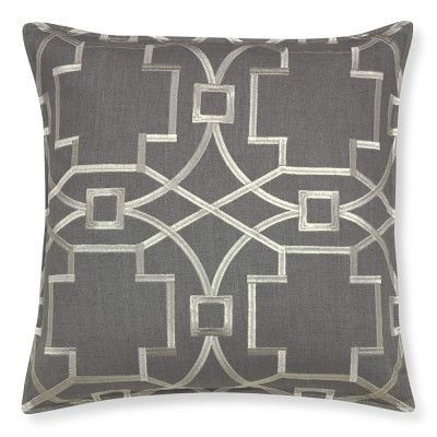 Medallion Embroidered Linen Pillow Cover, Gray/Silver #williamssonoma