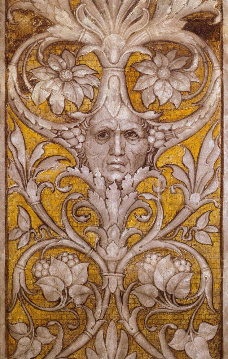 Andrea Mantegna, Grotesque Self-Portrait 1465-74 Walnut oil on plaster Camera degli Sposi, Palazzo Ducale, Mantua