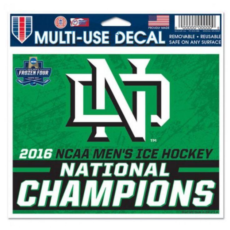 "North Dakota Fighting Hawks 2016 NCAA Hockey National Champs Decal Sticker 5""x6"""