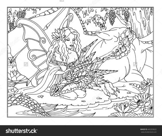 coloring page the enchanted fairy buy this stock illustration on shutterstock find other images - Printable Dragon Coloring Pages