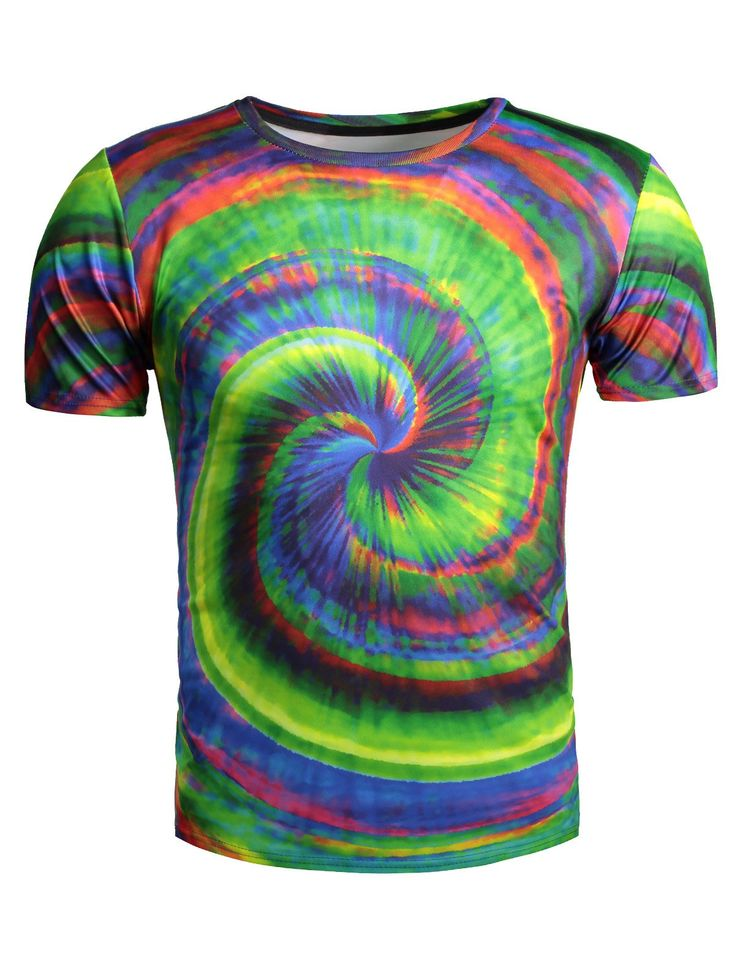 Color Block Vortex Printed Short Sleeve T-Shirt #jewelry, #women, #men, #hats, #watches, #belts, #fashion