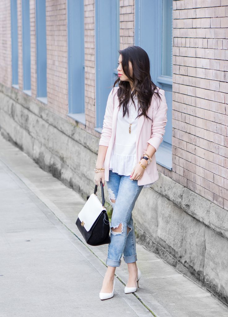 blush blazer and distressed jeans outfit for spring