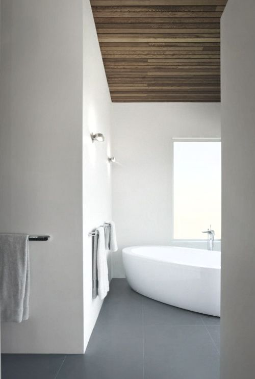 Wood clad ceiling. White. Concrete tile. *bathroom design, modern interiors, white, minimal*#Repin By:Pinterest++ for iPad#