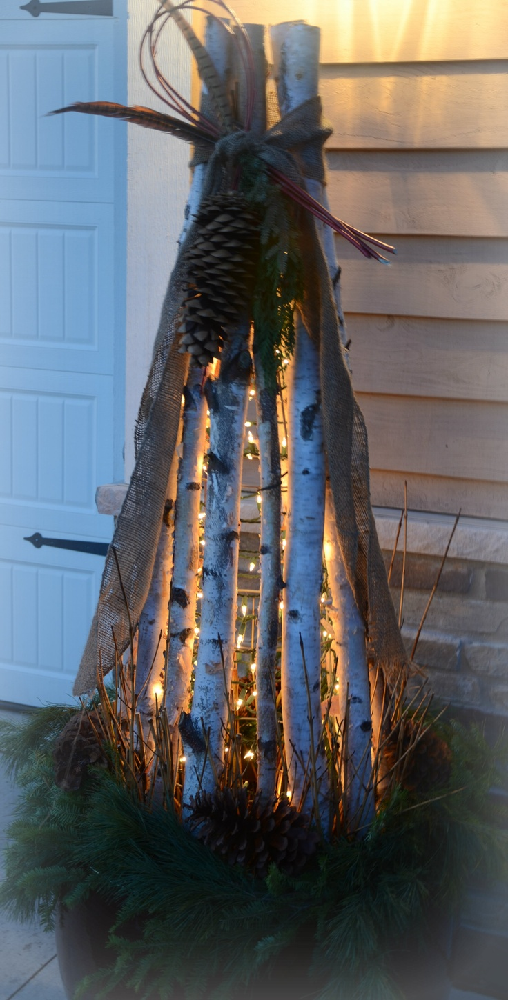 Tomato cage wrapped in x-mas lights, surrounded by birch branches and decorated.                                                                                                                                                     More