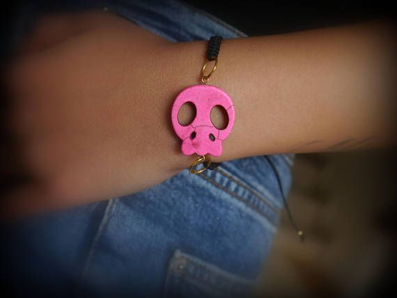 Check out this item in my Etsy shop https://www.etsy.com/listing/580685947/pink-skull-braceletwomen-gift-natural