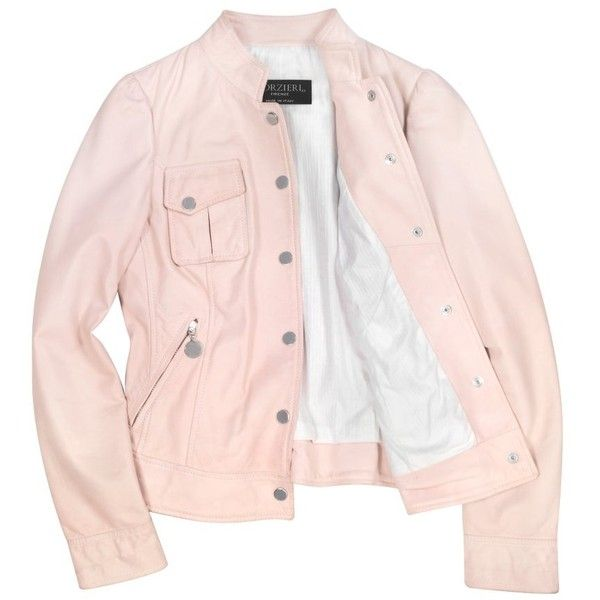 Forzieri Pink Washed Leather Jacket with Mandarin Collar ($780) ❤ liked on Polyvore