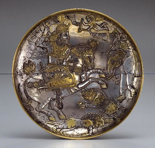 Sassanian Silver Gilt Plate with a Royal Hunt 7th century