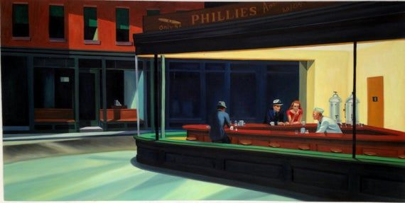 Nighthawks By Edward Hopper Night Hawks Reproduction Oil Painting On Canvas Made To Order 100 Money Back Guarantee Edward Hopper Famous Art Paintings Nighthawks