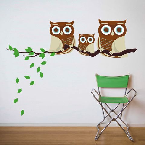 Family of Owls - Fabric Wall Decals - Bright Barnaby - For the Playful Family: Idea, Buy, Wall Decals, Decals Family, Fabrics, Families, Owls, Fabric Walls, Owl Fabric