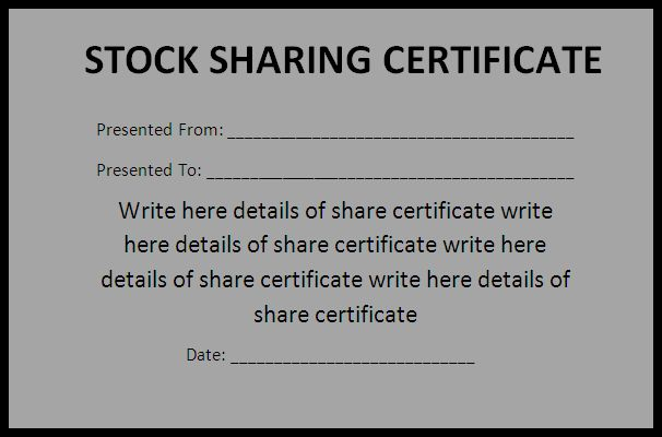 Share Certificate Form