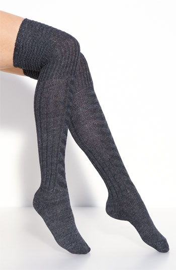 DKNY Patchwork Boot Socks- Black and Grey