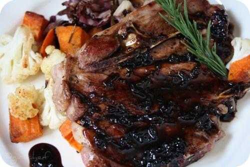 Lamb Chops with Roasted Cauliflower, Sweet Potatoes, Radicchio and a ...